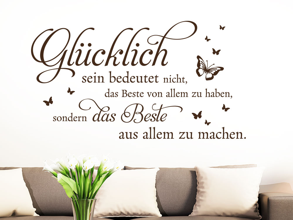 wandtattoo gl cklich sein spruch klebeheld de. Black Bedroom Furniture Sets. Home Design Ideas
