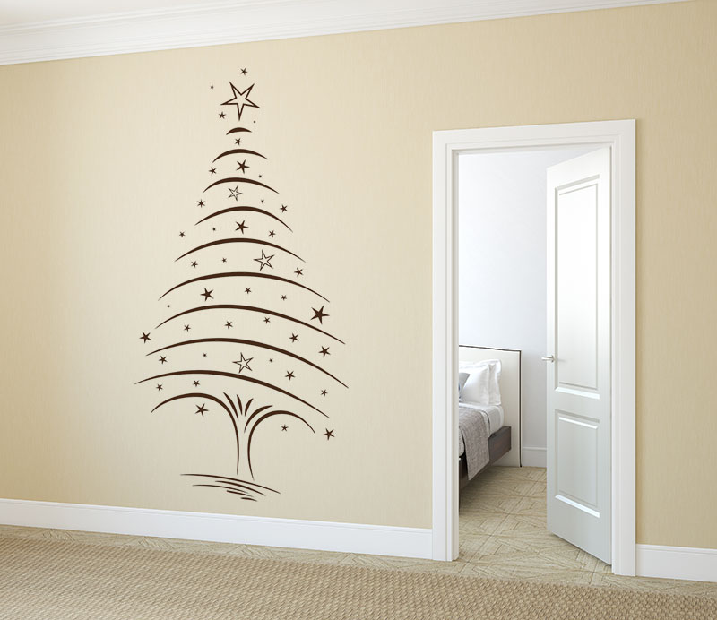 wandtattoo weihnachtsbaum mit sternen von klebeheld. Black Bedroom Furniture Sets. Home Design Ideas