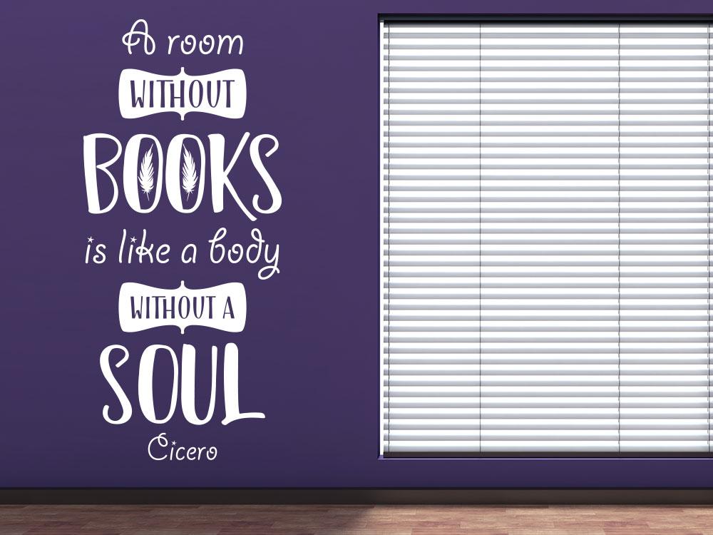 Wandtattoo A room without books in Farbe Weiß im Bücherzimmer