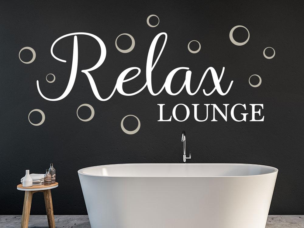 Zweifarbiges Wandtattoo Relax Lounge im Badezimmer