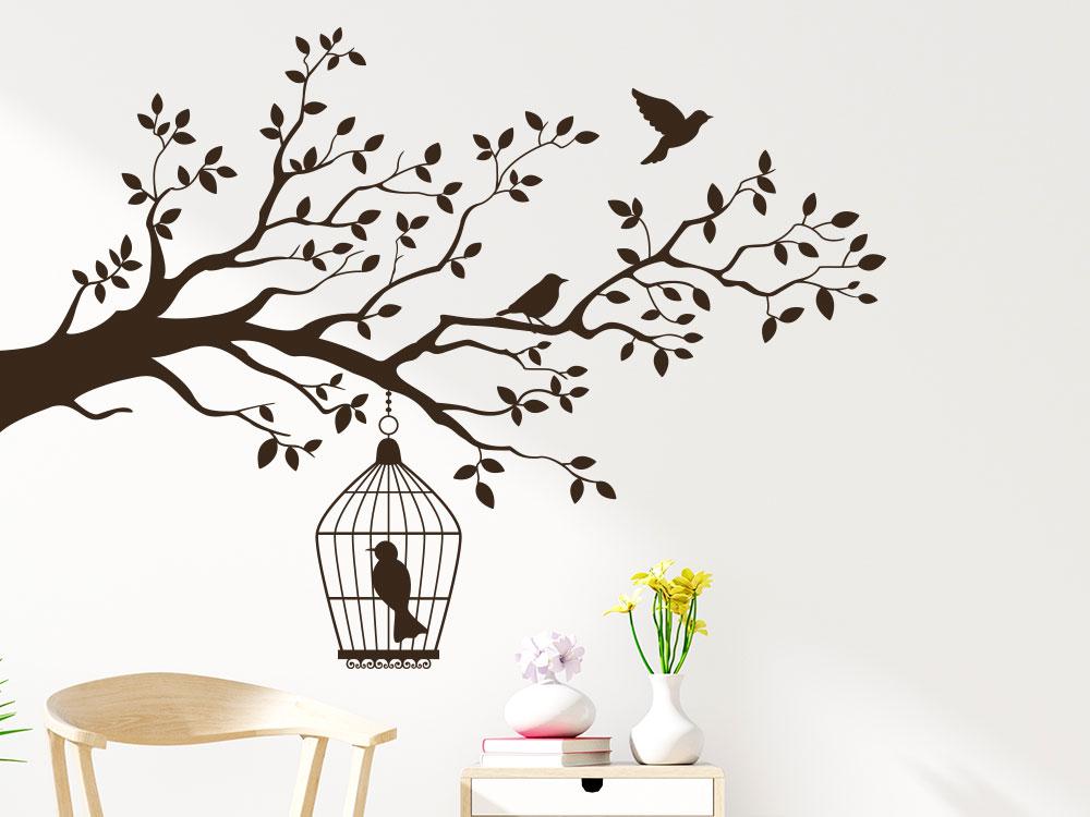 Wandtattoo Ast Käfig und Vögel