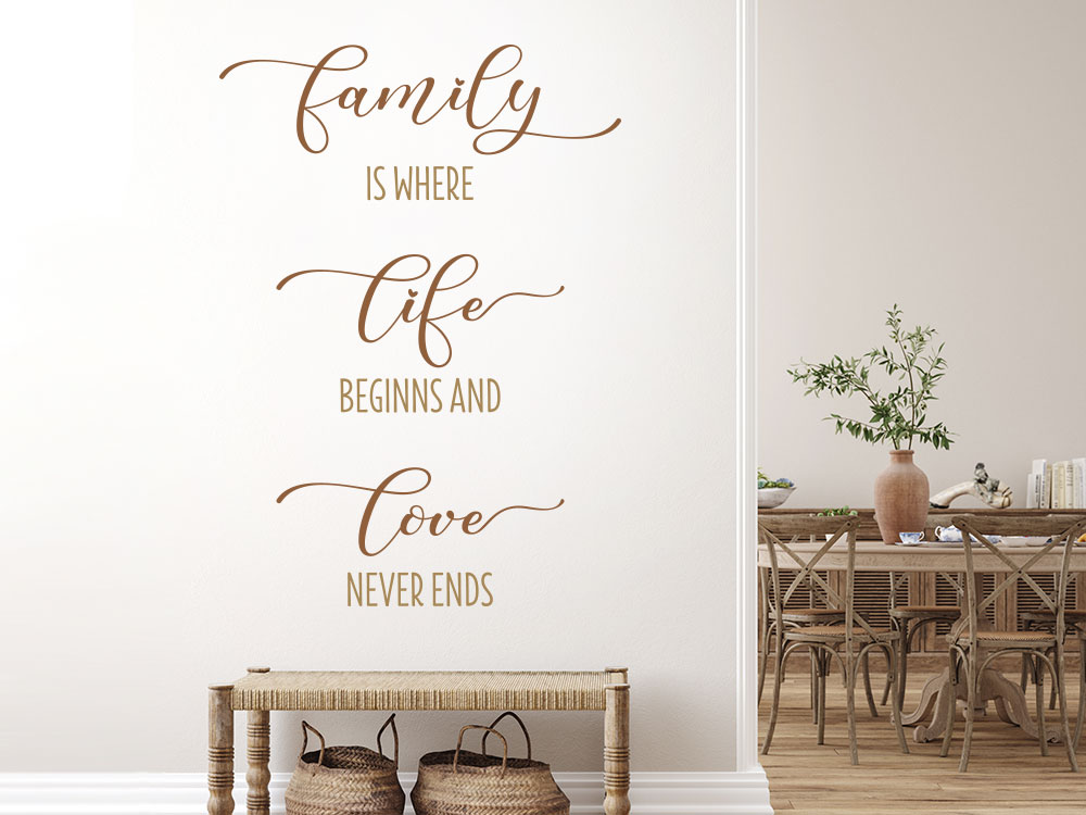 Family is where life beginns Wandtattoo