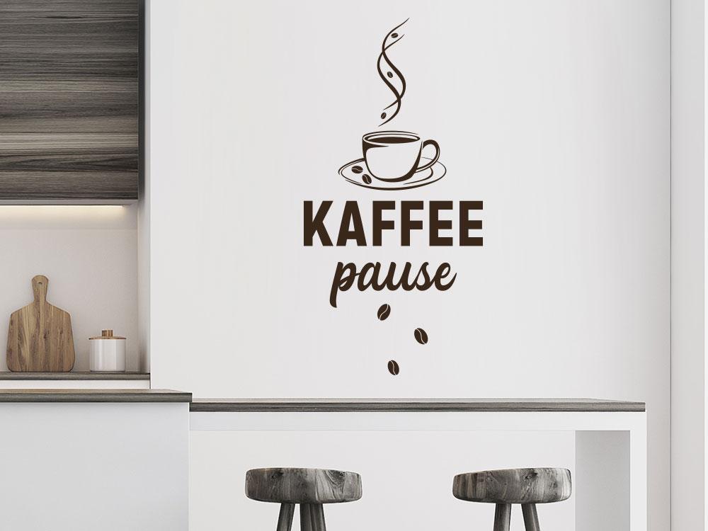 Wandtattoo Kaffeepause mit Kaffeebohnen in Küche