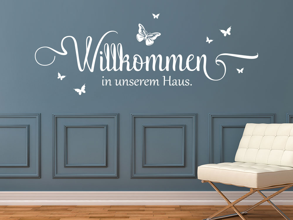 wandtattoo willkommen in unserem haus klebeheld de. Black Bedroom Furniture Sets. Home Design Ideas