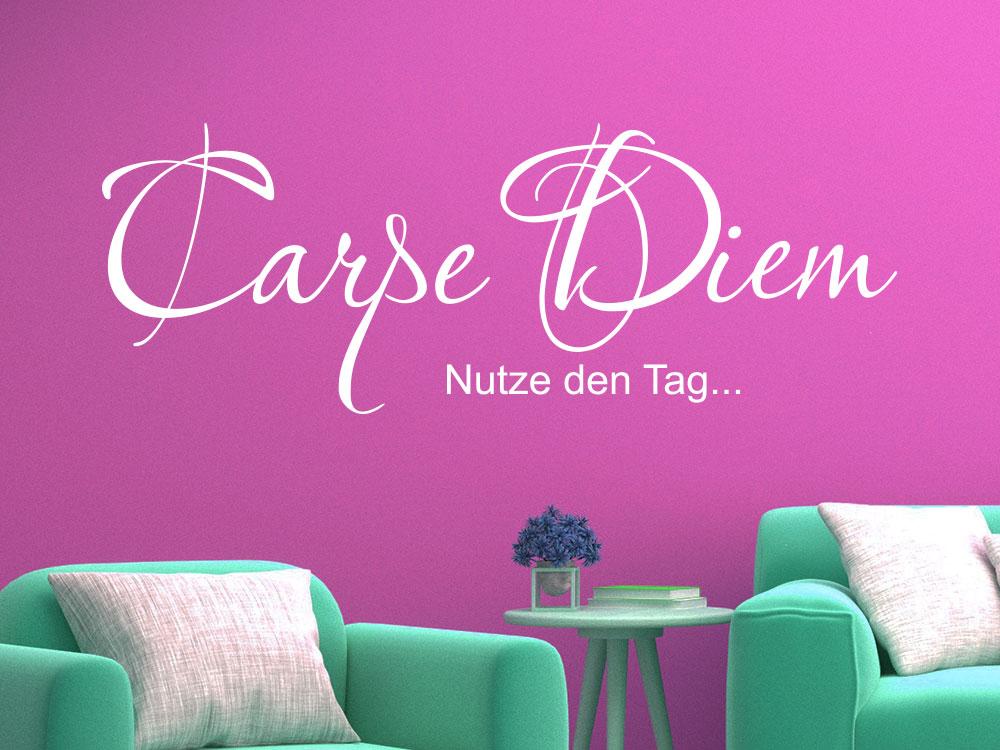 Wandtattoo Carpe Diem No.02 im Wohnzimmer
