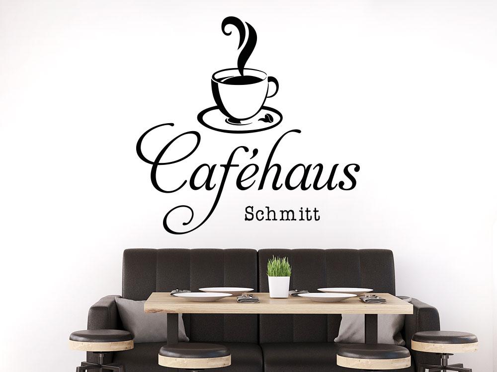 Wandtattoo Caféhaus mit eigenem Name und Kafeetasse