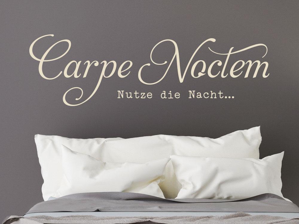 Carpe Noctem Wandtattoo Schriftzug imSchlafzimmer