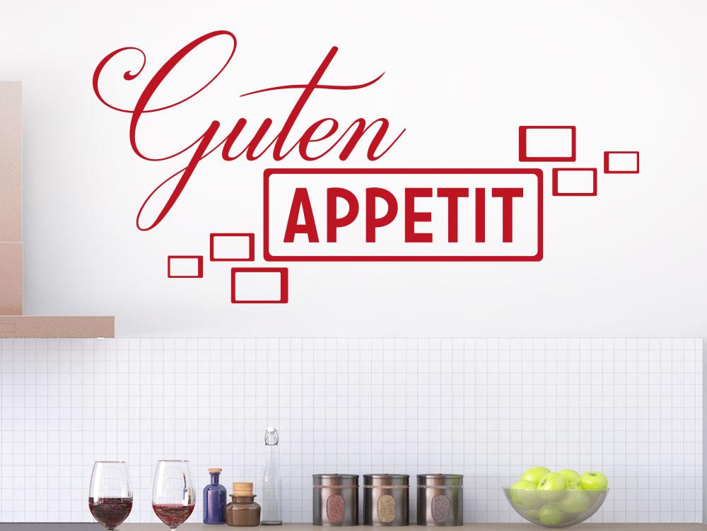 Wandtattoo Guten Appetit Retrolook Farbe Rot in Küche