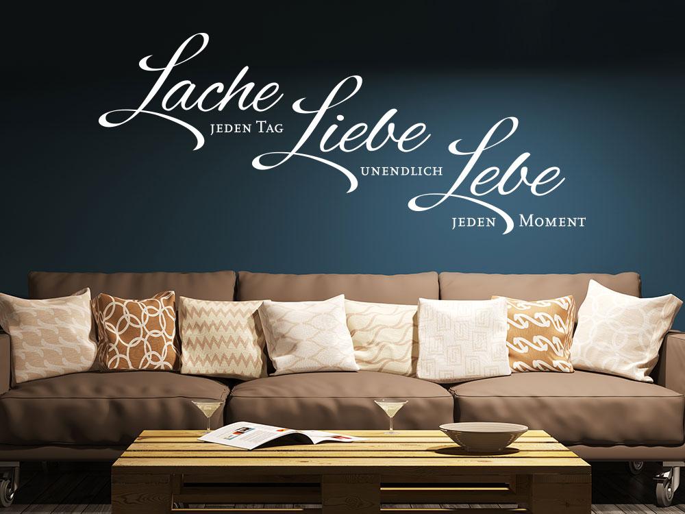 wandtattoo lache jeden tag liebe unendlich lebe jeden moment. Black Bedroom Furniture Sets. Home Design Ideas