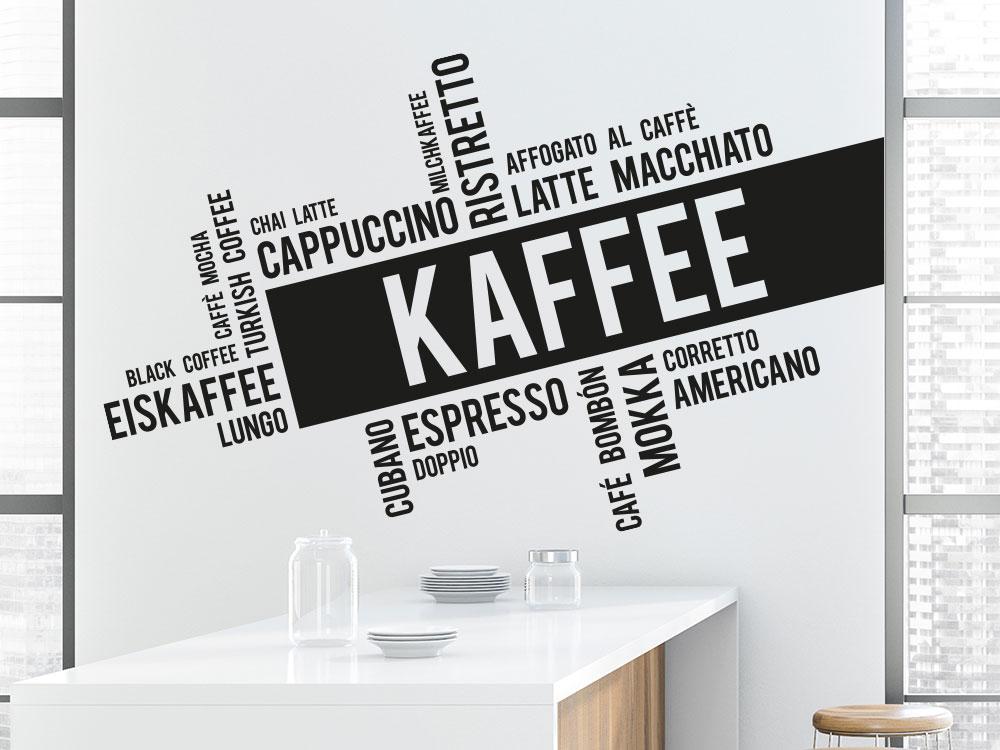 Moderne Kaffee Wandtattoo Wortwolke Küche