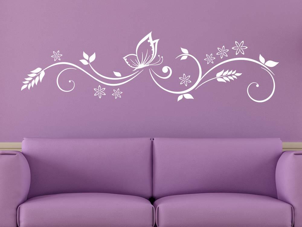 Wandtattoo Ranke mit Schmetterling Wohndeko im Wohnzimmer