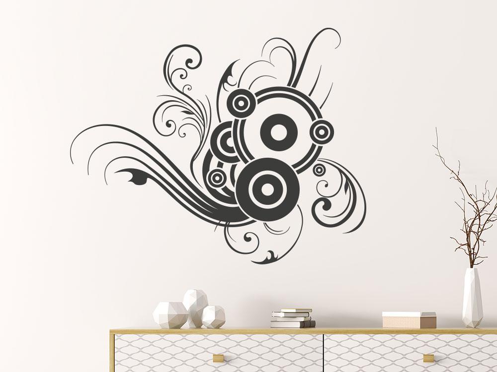 Schnörkel Wandtattoo Ornament mit Kreisen im Flur