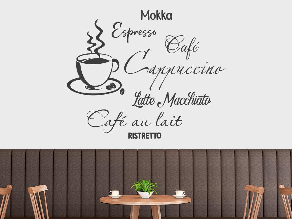 Wandtattoo Café mit dampfender Kaffeetasse