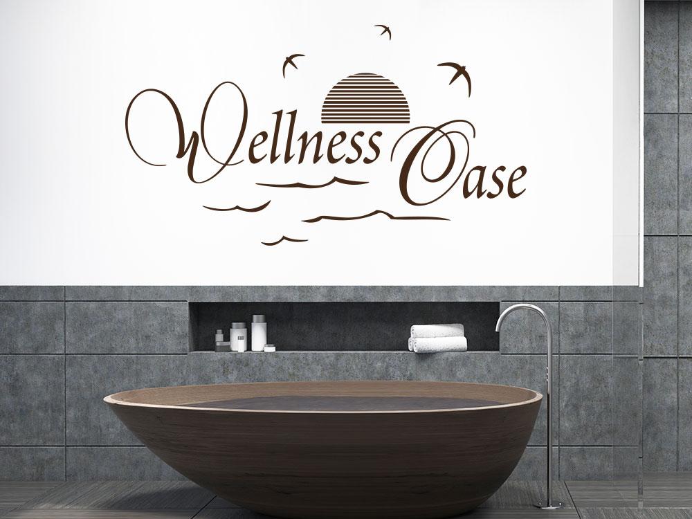 Wandtattoo Wellness Oase mit Möwen