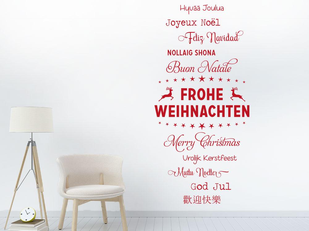 Wandtattoo Frohe Weihnachten Worte im Flur