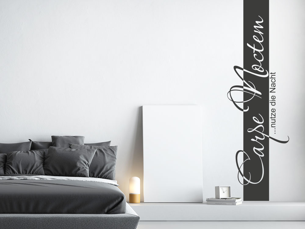 wandtattoo wandbanner carpe noctem nutze nacht klebeheld. Black Bedroom Furniture Sets. Home Design Ideas
