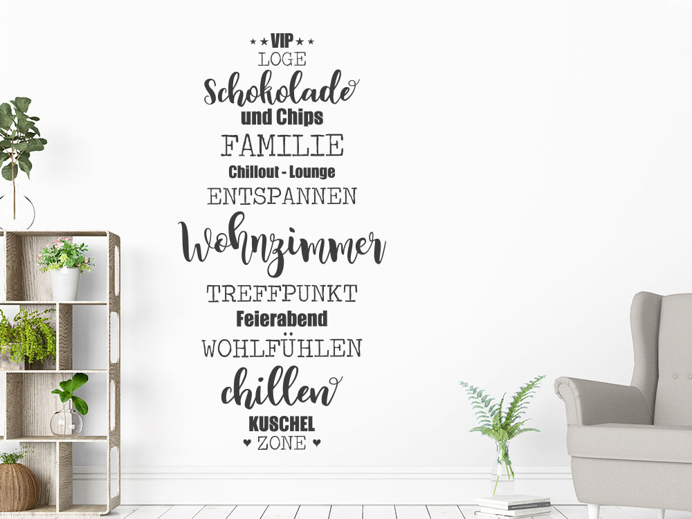 Wandtattoo Wohnzimmer Wort-Wolke senkrecht helle Wand