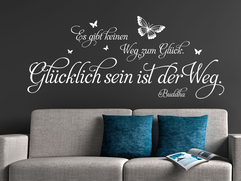 wandtattoo zitate ber das gl ck wandtattoos zum. Black Bedroom Furniture Sets. Home Design Ideas