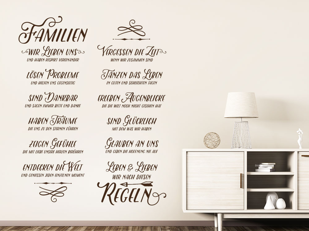 Wandtattoo Familienregeln Spruch als Banner im Flur