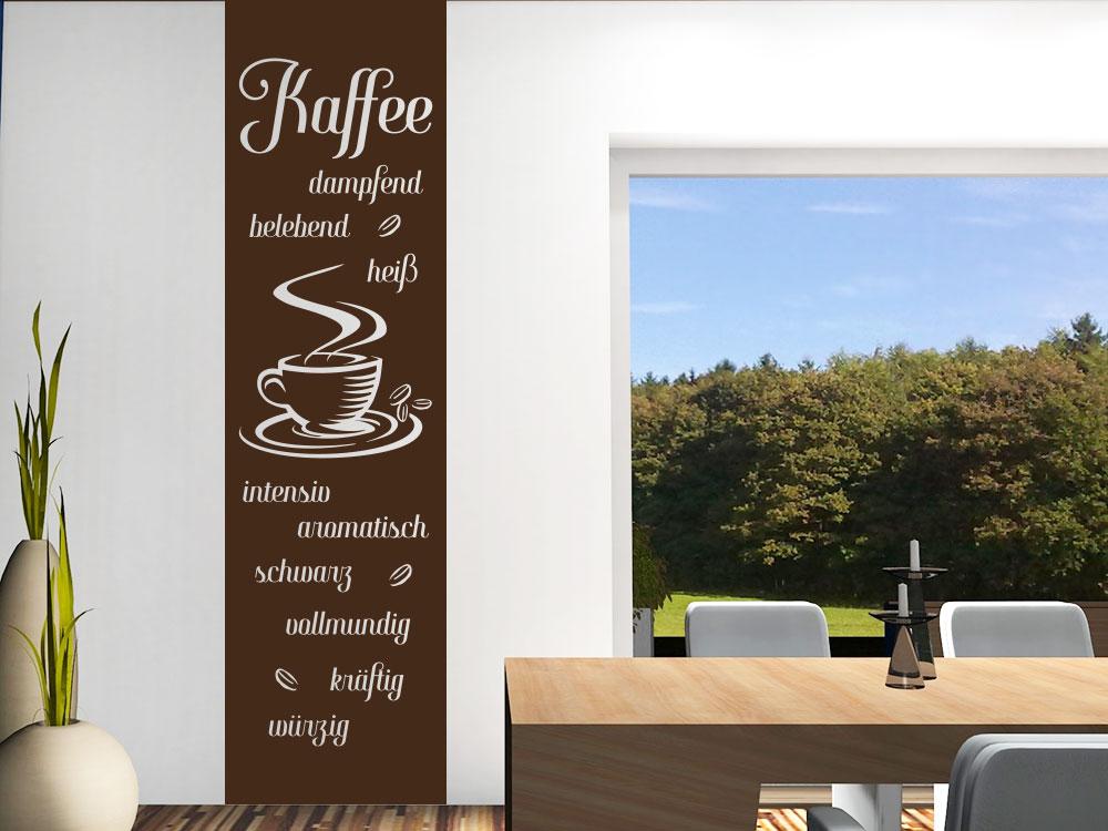 Banner Kaffespezialitäten Wandtattoo auf heller Küchenwand