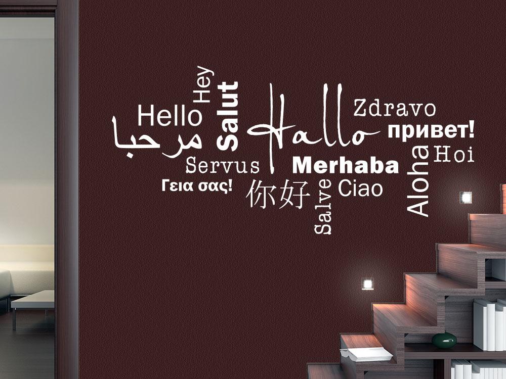 Wandtattoo Hallo in mehreren Sprachen