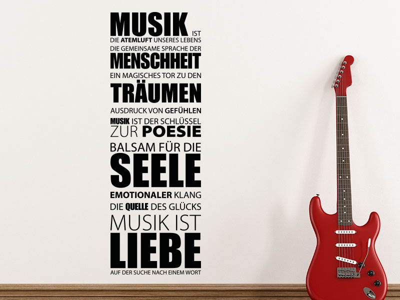 Wandtattoo Musik ist die Atemluft unseres Lebens