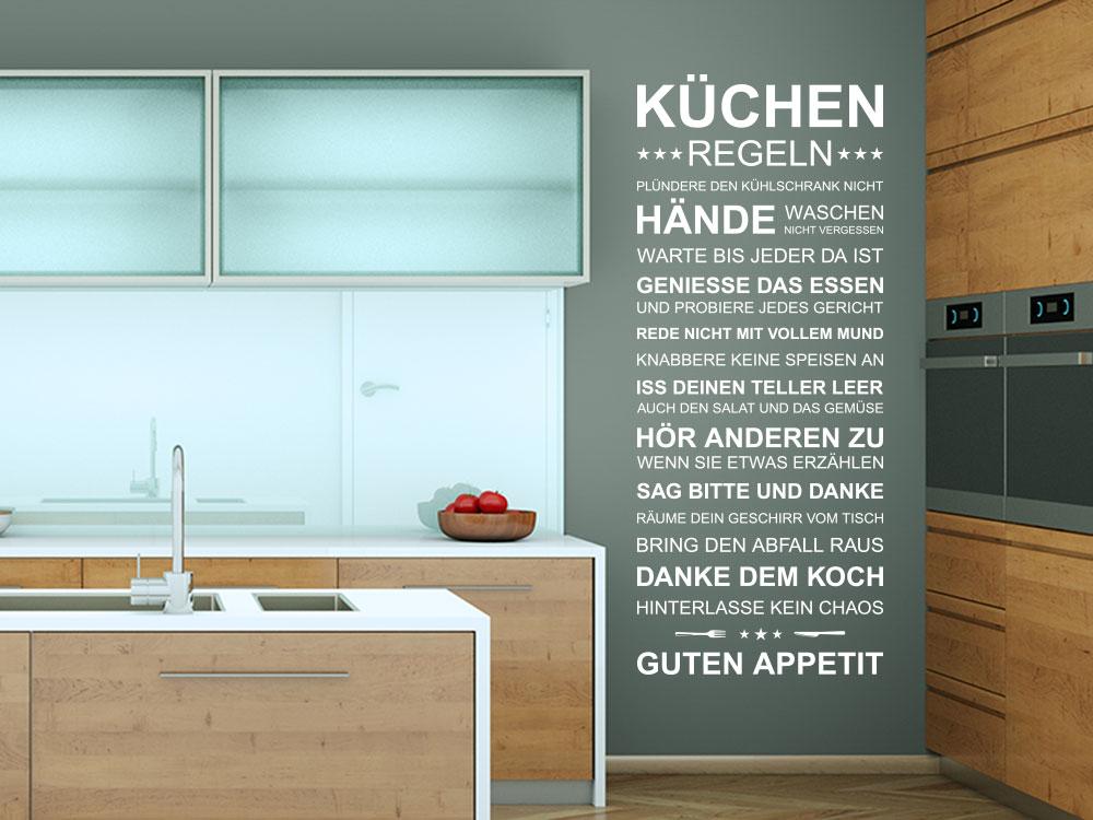 Wandtattoo Küchenregeln Spruch Banner