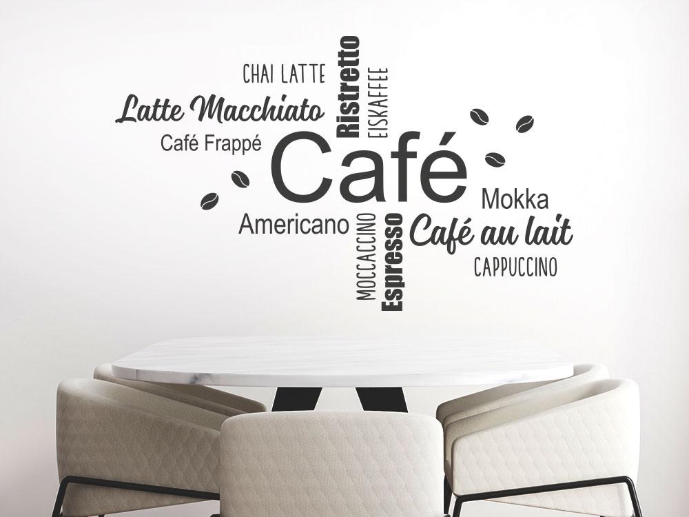 Wandtattoo Café Wortwolke im Büro