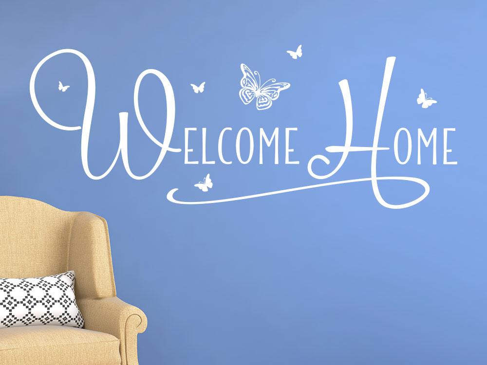 Wandtattoo Welcome Home im Flur mit Schmetterlinge