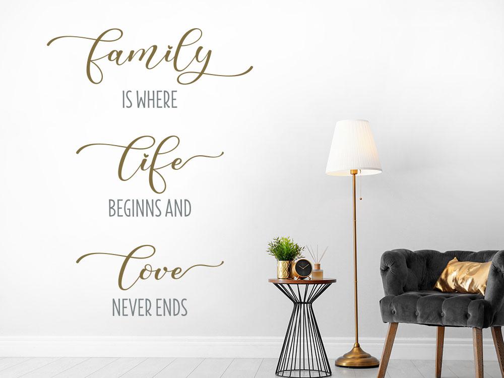 Zweifarbiger Wandtattoo Spruch Family is where life beginns