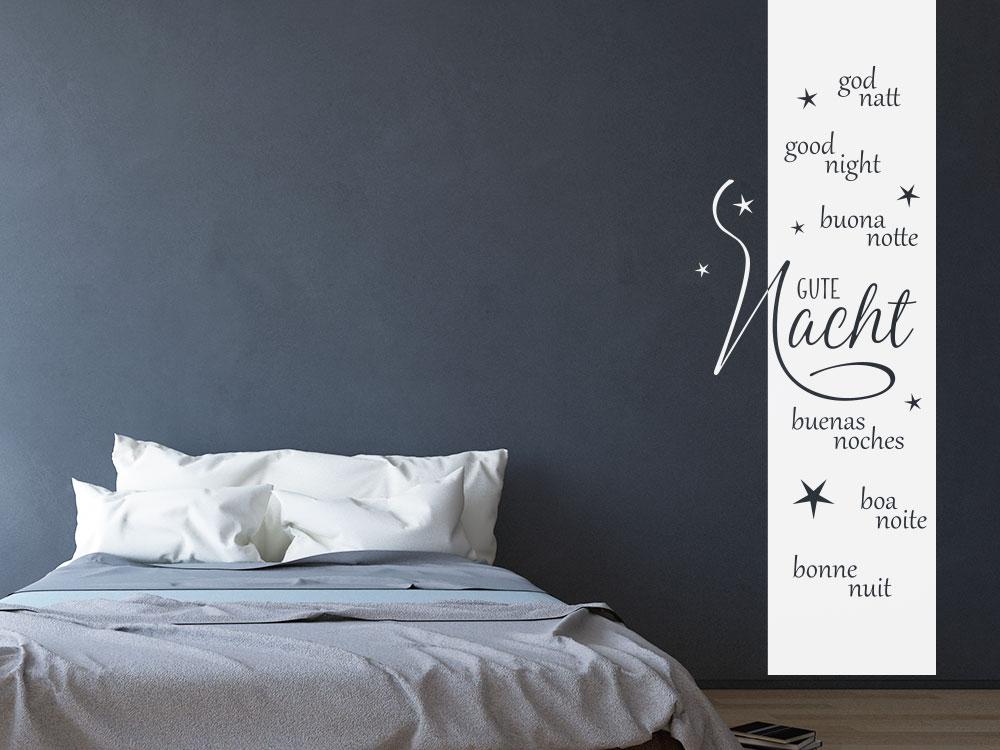 Wandtattoo Gute Nacht Banner im Schlafzimmer auf dunkler Wandfläche