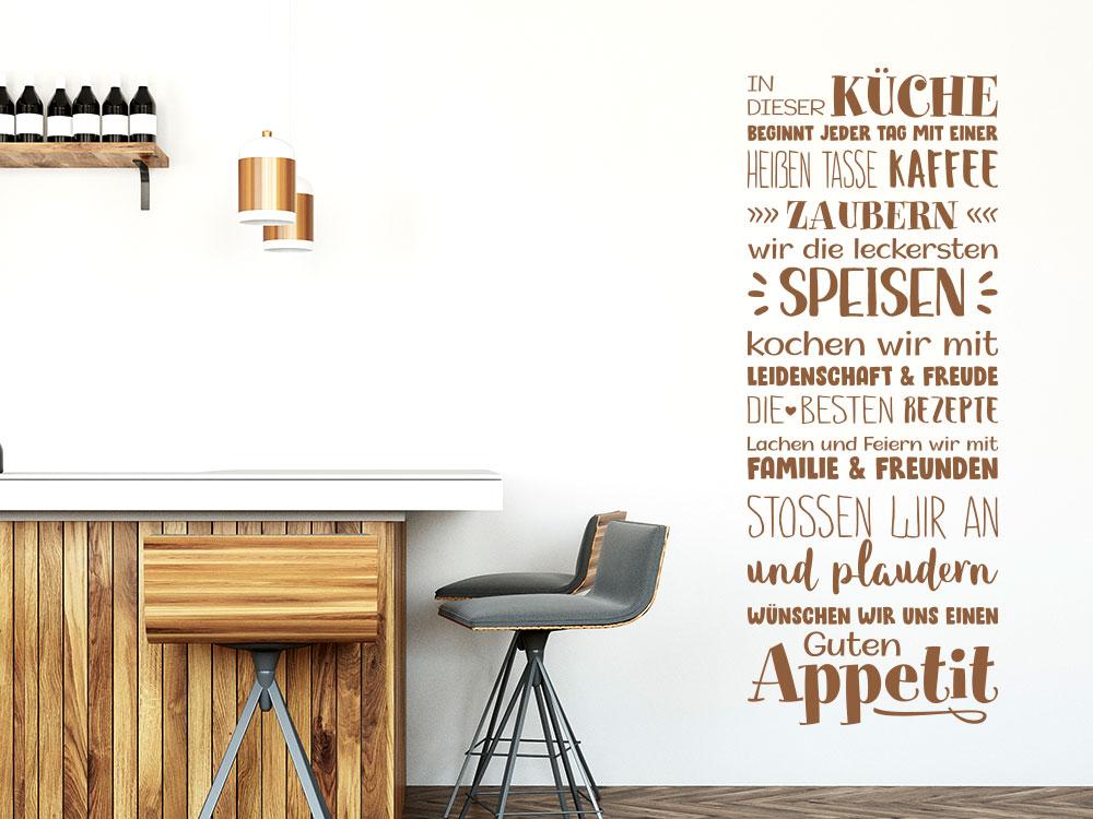Wandtattoo Spruchbanner In dieser Küche beginnt neben Küchenblock