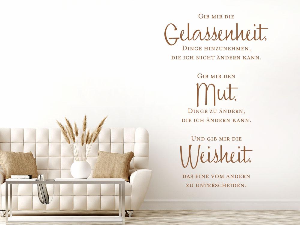 Wandtattoo Spruch Gib mir die Gelassenheit auf heller Wand