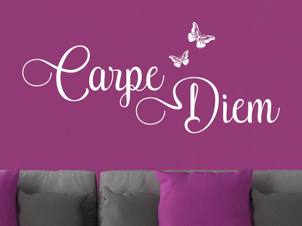 Wandtattoo Carpe Diem mit elegantem Schmetterling