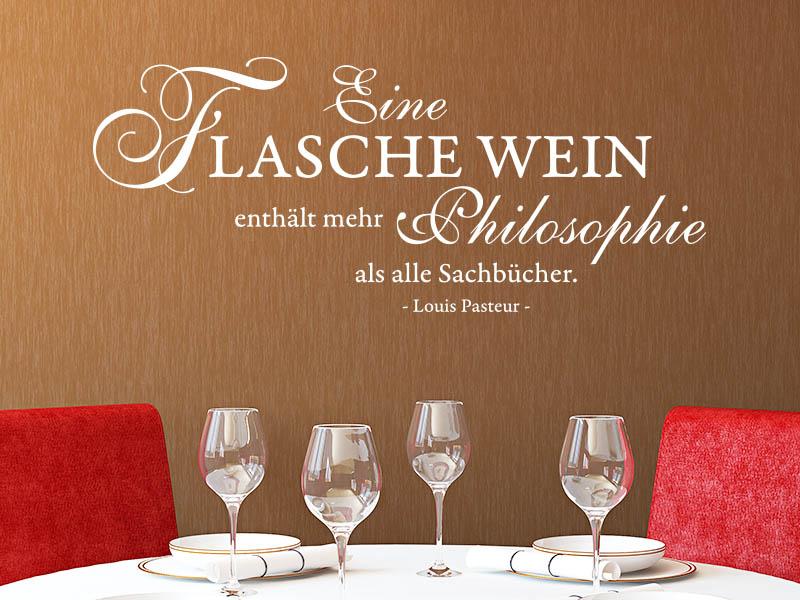 Wandtattoo Zitat Eine Flasche Wein Enthalt Mehr Philosophie Als Alle Sachbucher
