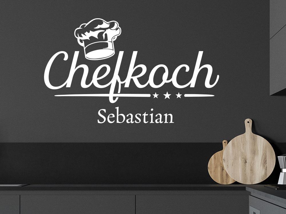 Wandtattoo Chefkoch mit Wunschname und Kochmütze in Küche