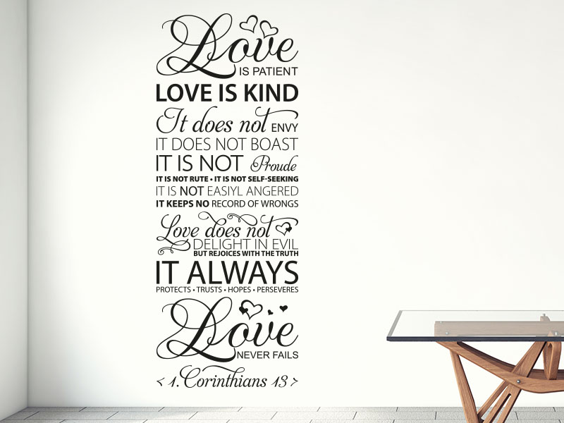 Wandtattoo Love is patient love is kind… Corinthians 13