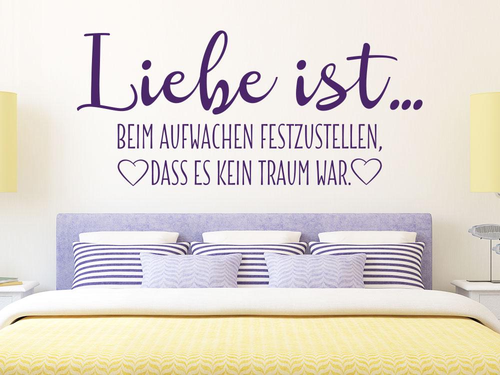 Schlafzimmer Wandtattoo Spruch Liebe ist beim Aufwachen festzustellen, es kein Traum war