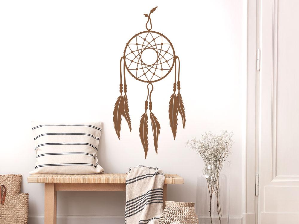 Wandtattoo Traumfänger Indianer Federn im Eingang