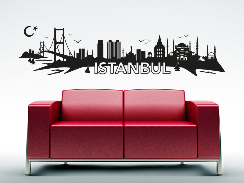wandtattoo istanbul skyline. Black Bedroom Furniture Sets. Home Design Ideas