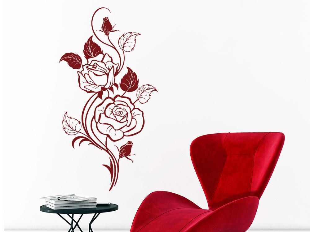 Wandtattoo Rosen Ornament auf heller Wand im Wohnzimmer