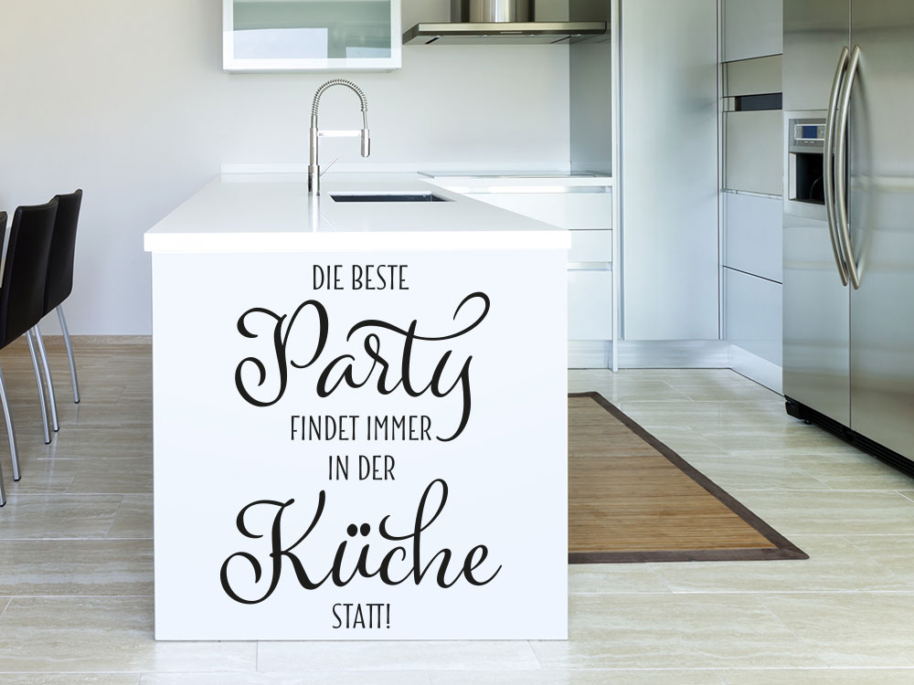 Wandtattoo Party Küche Schwarz auf Küchenzeile
