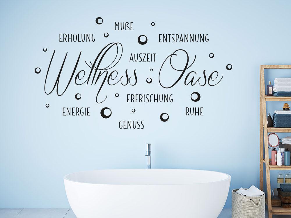 Wandtattoo Wortwolke Wellness Oase auf heller Wand