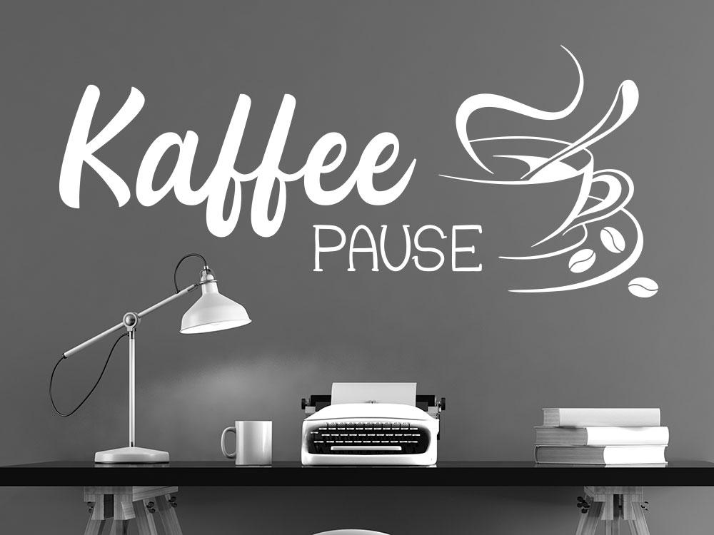 Wandtattoo Kaffee Pause mit Cafétasse im Büro