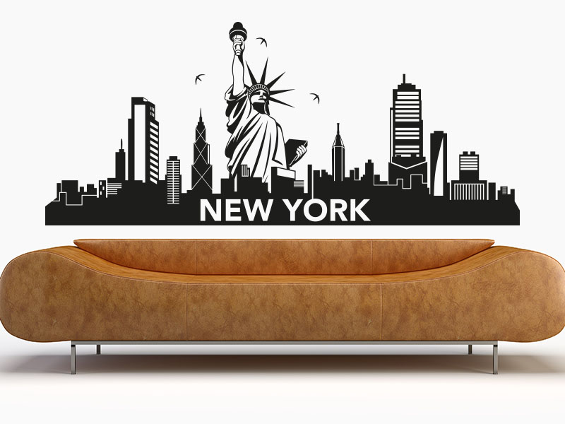 wandtattoo skyline new york. Black Bedroom Furniture Sets. Home Design Ideas