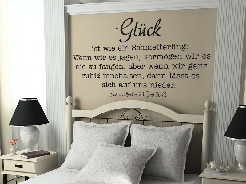 wandtattoo hochzeit gl ck ist wie ein schmetterling wandtattoos. Black Bedroom Furniture Sets. Home Design Ideas