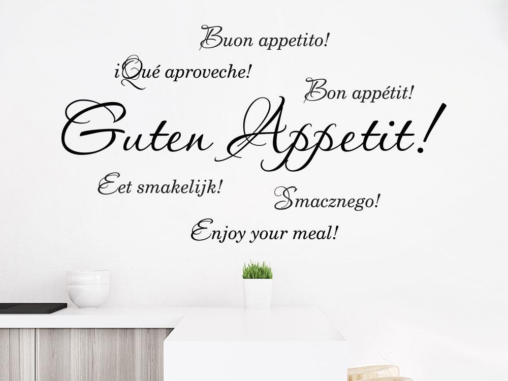 Wandtattoo Guten Appetit in verschiedenen Sprachen helle Wand Esszimmer