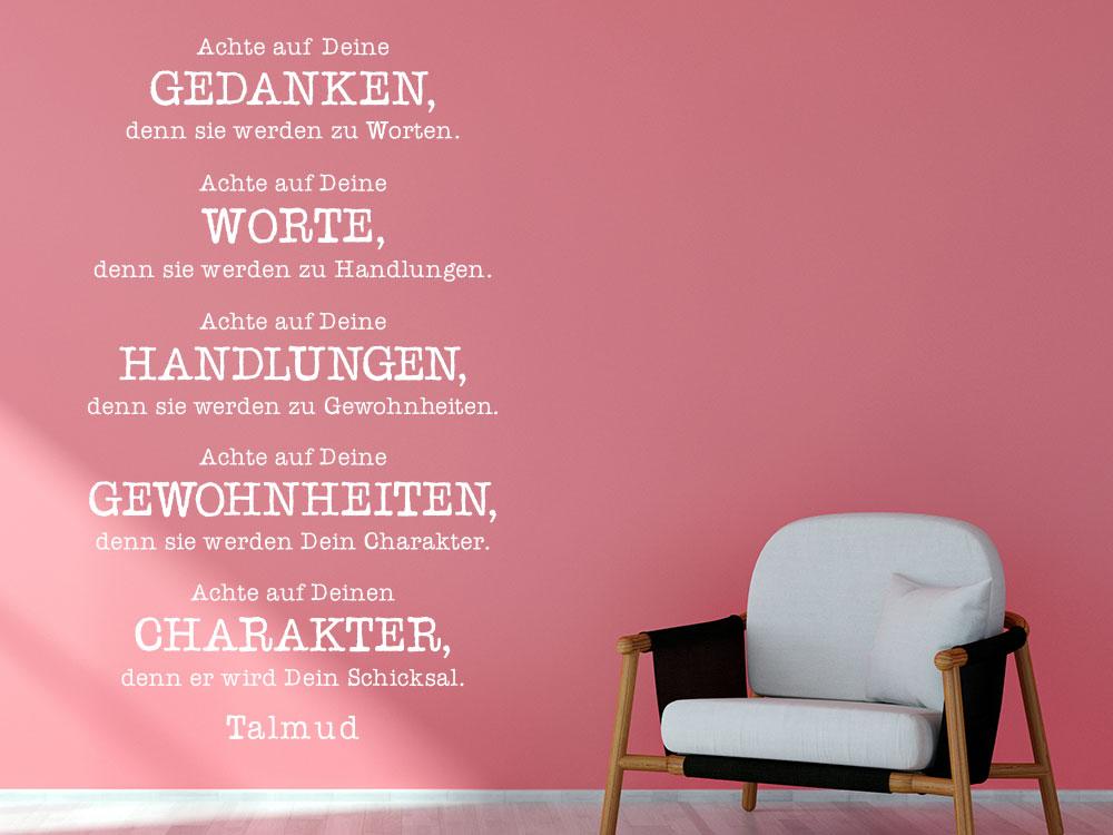 Wandtattoo Achte auf Deine Gedanken Zitat Talmud im Wohnzimmer