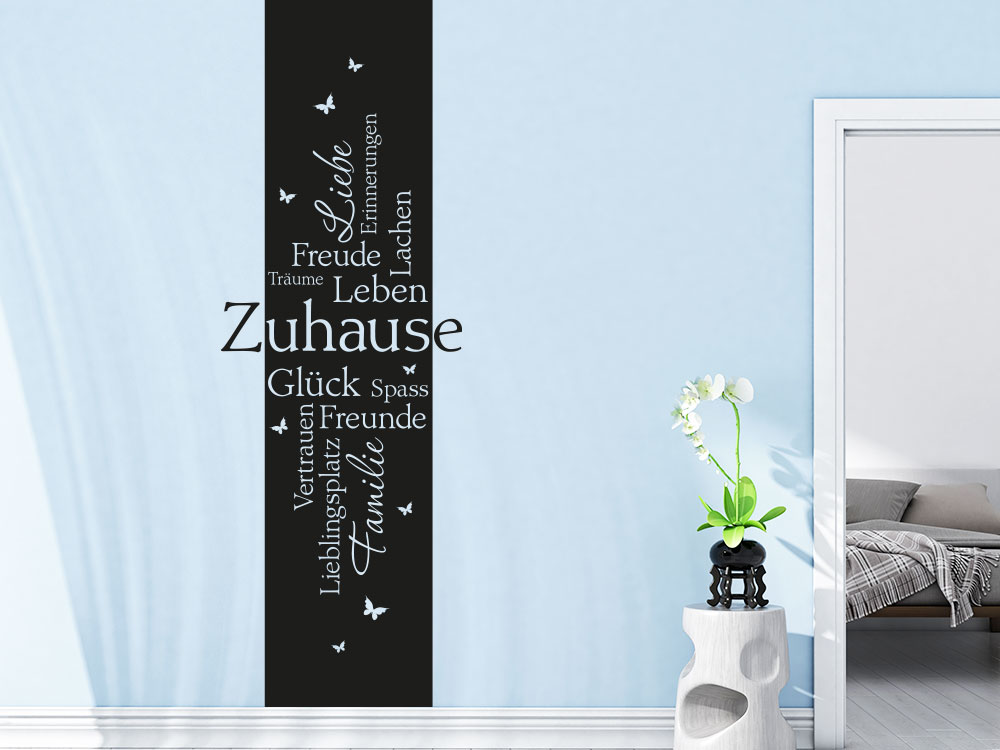 Wandtattoo Banner Zuhause in schwarz