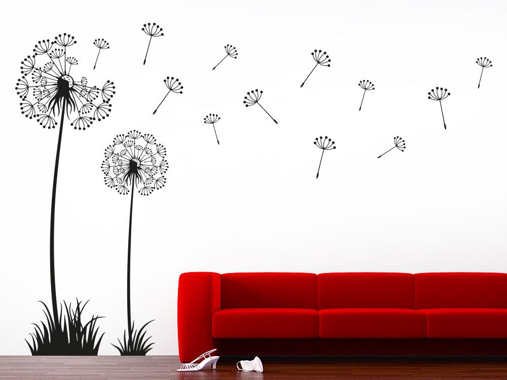 Wandtattoo Traumhafte Pusteblumen mit wegfliegenden Samen